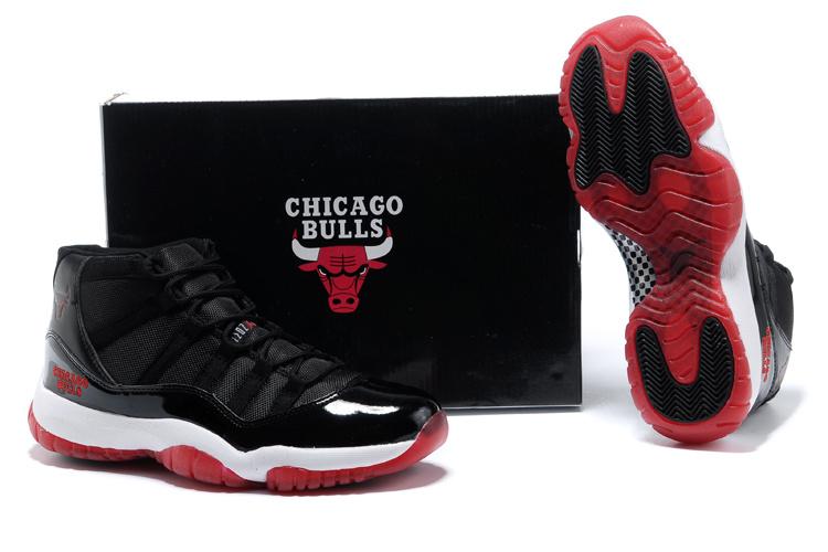 b1d4877694 Nike Add Jordan 11 X I Retro Bred Nike Air Ankle Cut Black And White ...